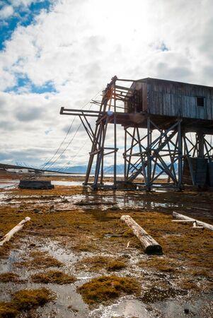polar station: Abandoned wooden coal mine transportation station in Svalbard, Norway