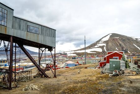 Abandoned cablecar station used for coal transportation in Longyearbyen, Svalbard