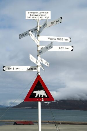 distances: Road sign with polar bear and distances to the cities, Svalbard, Norway