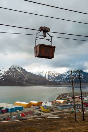 cable car: Old cable car for coal transportation in Longyearbyen, Svalbard, Norway Stock Photo