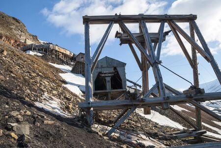 polar station: Abandoned coal mine station in Longyearbyen, Svalbard, Norway Stock Photo