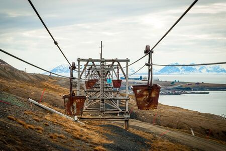 svalbard: Old cable car for coal transportation in Longyearbyen, Svalbard, Norway Stock Photo