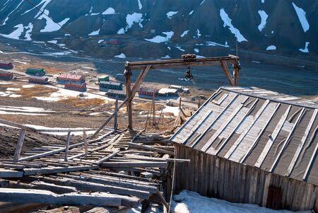 Abandoned coal mine station in Longyearbyen, Svalbard, Norway Stock Photo