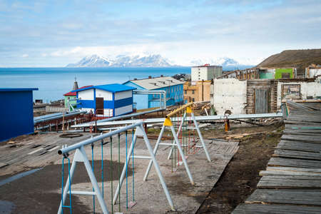 settlements: Playground in Barentsburg, industrial russian settlements in Svalbard, Norway