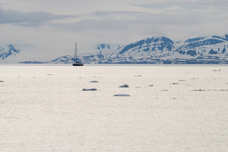 svalbard: Icebergs floating in the arctic sea in Svalbard, Norway Stock Photo