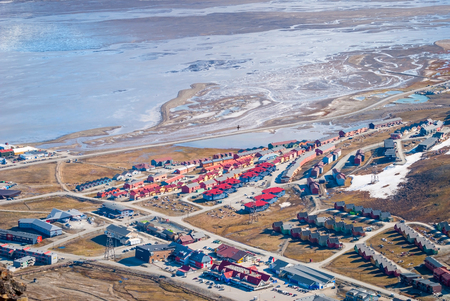 svalbard: View over Longyearbyen from above, Svalbard, Norway