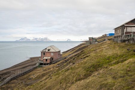 spitsbergen: Abandoned houses in Barentsburg, Russian settlement in Svalbard, Norway