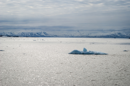 spitsbergen: Icebergs floating in the arctic sea in Svalbard, Norway Stock Photo