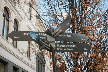 distances: Tourist attraction pointer with distances in Oslo, Norway