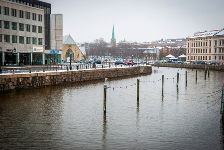 gothenburg: GOTHENBURG, SWEDEN - FEBRUARY 1: View along the water canal in Gothenburg downtown in winter time on February 1, 2015