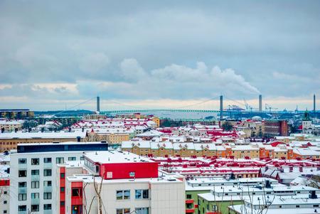 sweden in winter: Gothenburg skyline in winter, Sweden