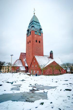 sweden in winter: Masthugg church in winter, Gothenburg, Sweden