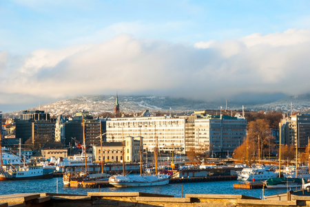 Oslo skyline with port in winter time, Norway