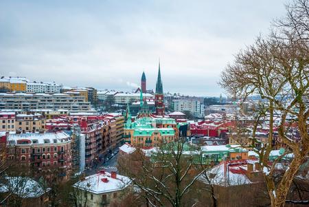 sweden in winter: View over Gothenburg skyline in winter, Sweden Stock Photo
