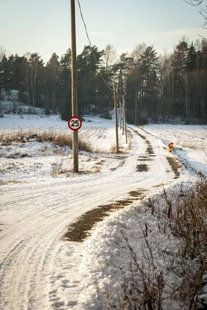 contryside: Road trough norwegian contryside in snowy winter afternoon Stock Photo