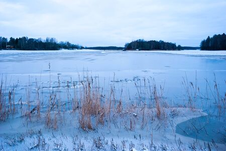 mud snow: Flooded field in winter twilight, Norway Stock Photo