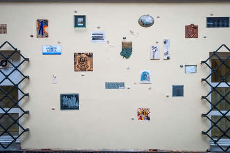 mentioned: VILNIUS, LITHUANIA - JULY 2: Literatu street with artworks featuring people that mentioned Lithuania in their works, taken July 2, 2015