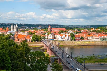kaunas: Skyline of Kaunas city with river and bridge, Lithuania