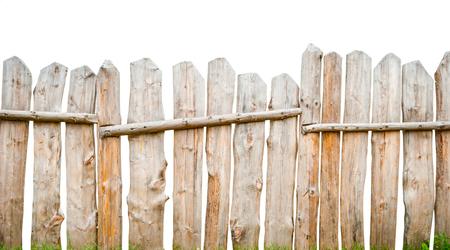 Houten hek planken, geïsoleerd op wit Stockfoto