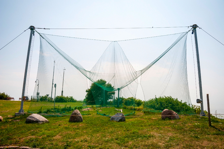 banding: View on construction made of net to catching birds for ornithological research
