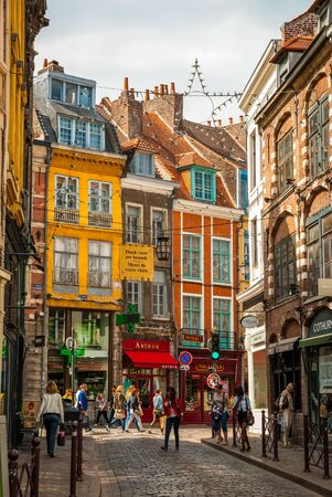 urbanistic: LILLE, FRANCE - JUNE 15: Busy street in Lille downtown in sunny summer day in June 15,2015