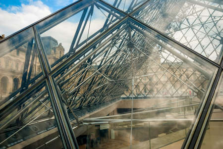 louvre pyramid: Transparent glass detail of Louvre pyramid