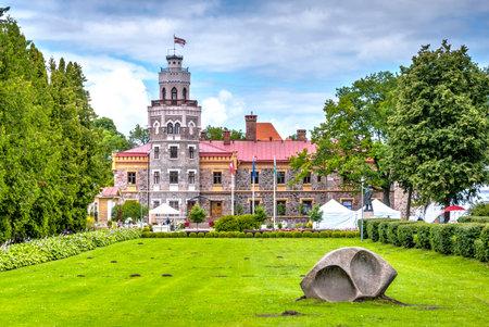 sigulda: View on beautiful famous new castle in Sigulda, Latvia