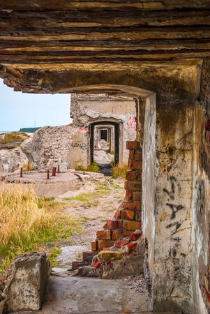 passageway: View on abandoned passageway in building of ussr fort in Latvia