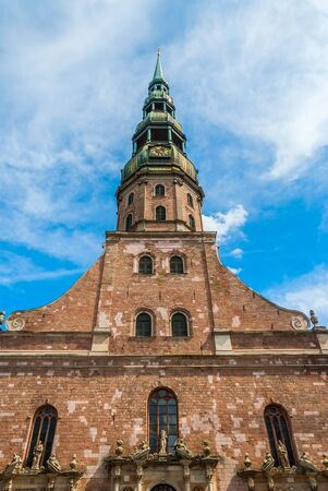 from below: Saint James cathedral from below against of blue sky, Riga, Latvia