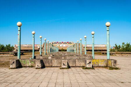 amphitheatre: Old soviet era olympics amphitheatre under blue sky, Tallinn, Estonia