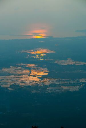 langkawi island: View on Langkawi island from above at sunset in haze, Malaysia