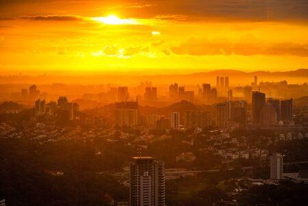 Idyllic view on Kuala Lumpur cityscape at sundown, Malaysia Stock Photo