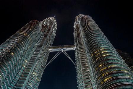 twin tower: View on famous Pertonas twin tower at night, Kuala Lumpur, Malaysia