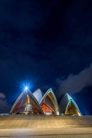 sydney opera house: Sydney Opera house with staircase at night with moon, long exposure