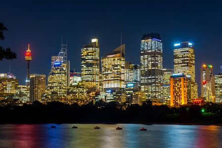 nightime: View on Sydney skyline at night, long exposure Stock Photo