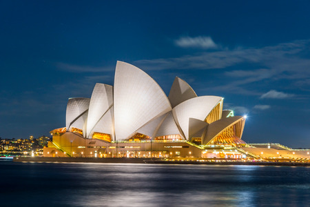 View on Sydney Opera house at night, long exposure
