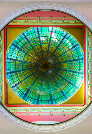 queen victoria: Bright ceiling ornament made of stained colorful glass in Sydney Queen Victoria shopping mall from below.