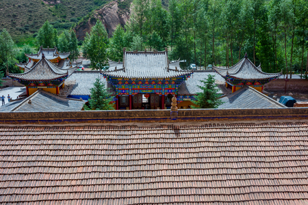 hoof: roofs of Horses Hoof temple Mati si cave temple Zhangye Gansu province China