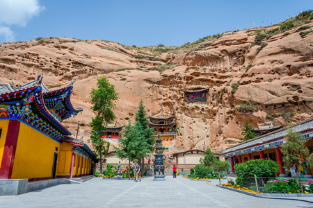Cave temple at Horse�s Hoof Temple Mati Si Zhangye Gansu province China