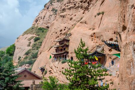 hoof: Cave temple at Horse's Hoof Temple Mati Si Zhangye Gansu province China