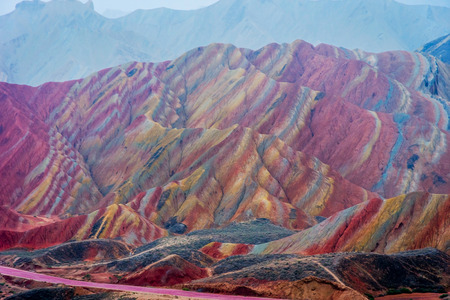Colorful landscape of rainbow mountains at Zhangye Danxia national geopark Gansu China Banco de Imagens - 66110765