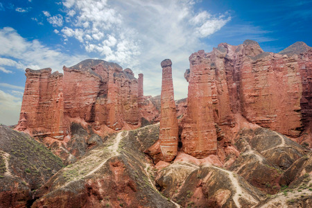 Walking paths around sandstone rock formation at Zhangye Danxia National Geological Park Gansu Province China