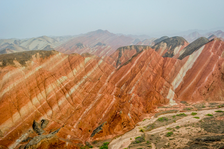 Colorful landscape of rainbow mountains at Zhangye Danxia national geopark Gansu China