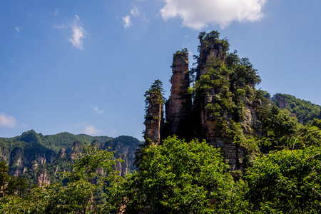 View over tall sandstone columns and formations in Zhangjiajie national park Hunan China