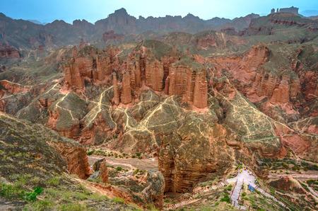 walking paths: Walking paths around sandstone rock formation at Zhangye Danxia National Geological Park Gansu Province China