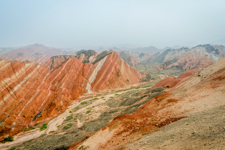 morphology: Colorful landscape of rainbow mountains at Zhangye Danxia national geopark Gansu China