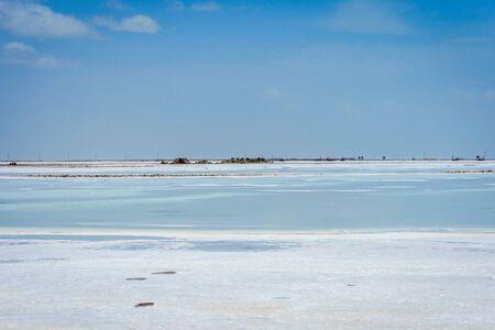 View over Chaqia (Chakayan) salt lake Qinghai China on sunny day