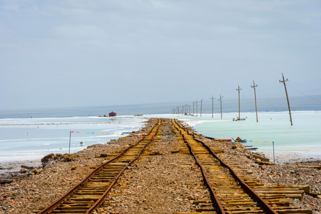 evaporacion: Old mining railway at Chaqia (Chakayan) salt lake Qinghai China