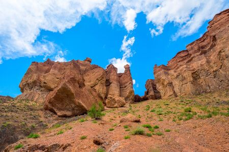 View over Sharyn or Charyn Canyon, Kazakhstan, second biggest canyon in the world Stock Photo