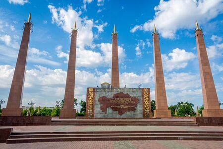urbanism: Independence monument statue in Shymkent, Kazakhstan Stock Photo